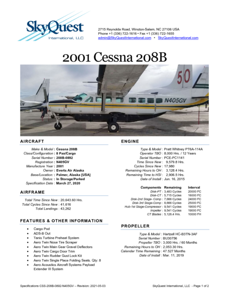 CSS-208B-0892-N405GV-Specifications