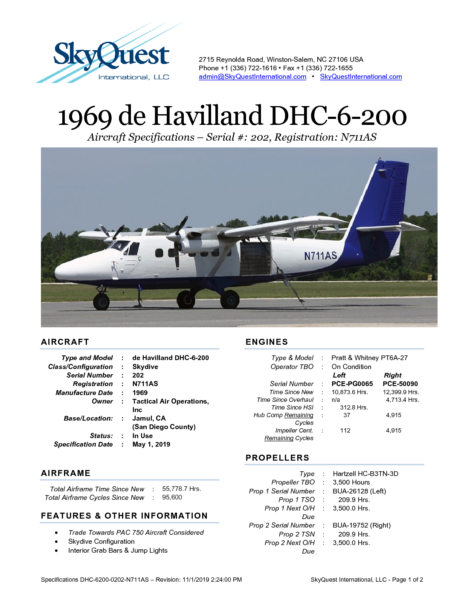 DHC-6200-0202-N711AS-Specifications