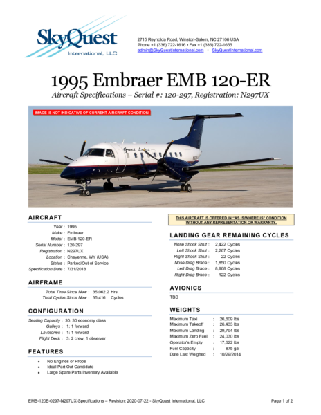 EMB-120E-0297-N297UX-Specifications