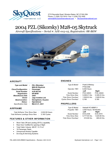 PZL-2805-0305-8RBKW-Specifications