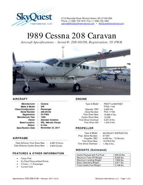 Specifications-Cessna-208-sn-208-00158-reg-5Y-FWH-